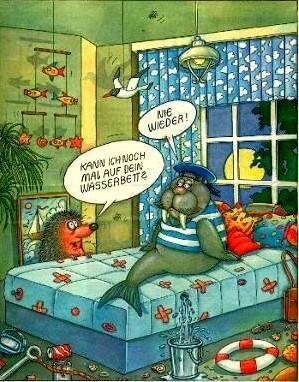 Wasserbett comic  cartoons