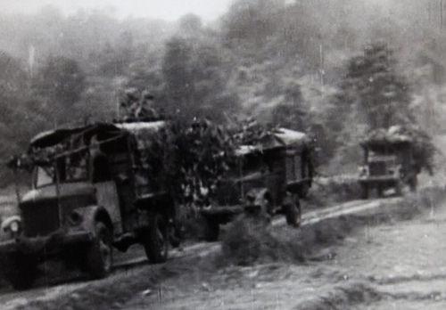 Đoàn quân xa ngụy trang cây rừng