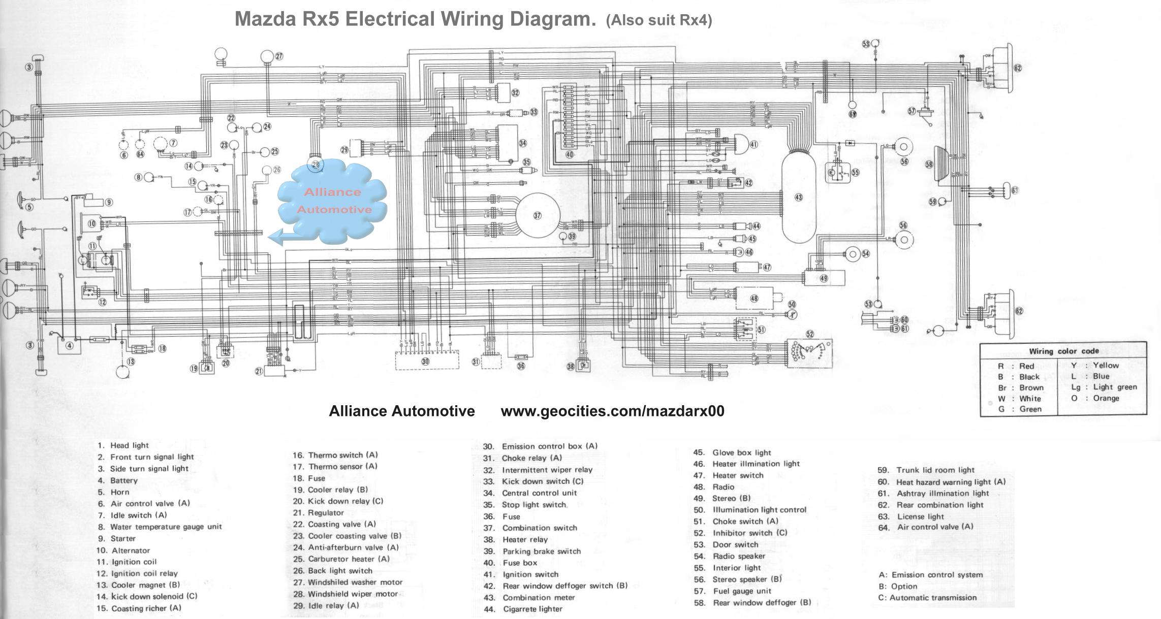 Mazda Rx3 Wiring Data Schematics Diagram Sinski How Do I Fix My Electrical Problems Rh Geocities Ws Rx100 Rx2
