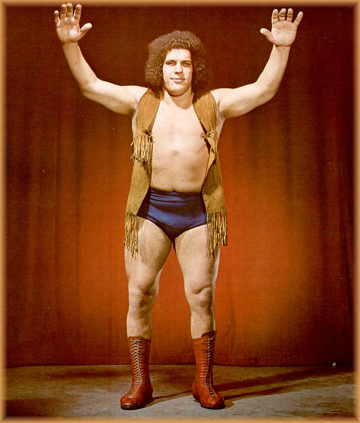 This is how André was presented as the Giant Jean Ferré in his beginnings in Montreal: sort of a crime fighter gimmick which was a crowd pleaser!
